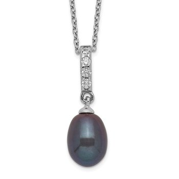 Sterling Silver Rhod-plat 8-9mm Black FWC Pearl CZ Necklace
