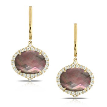 Luna Black Mother of Pearl Dangles 18KY