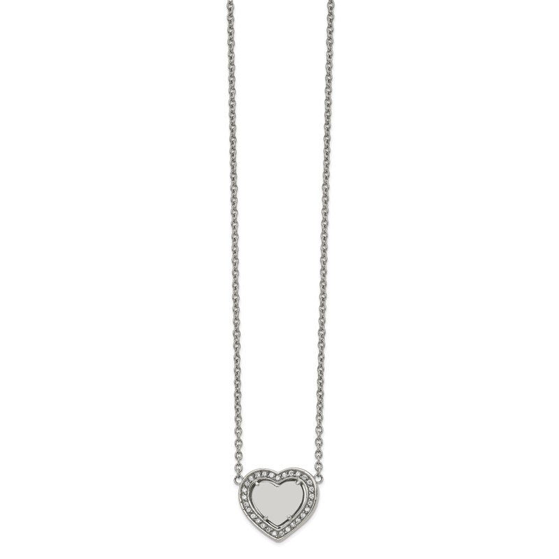 Chisel Stainless Steel Polished w/CZ Heart 19.25in w/2in ext Necklace