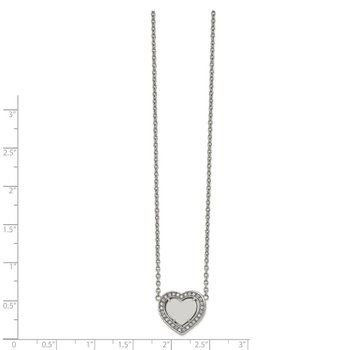 Stainless Steel Polished w/CZ Heart 19.25in w/2in ext Necklace