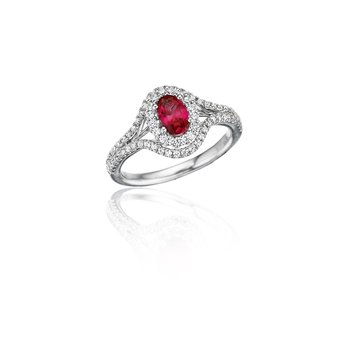 Better With You Ruby and Diamond Halo Ring