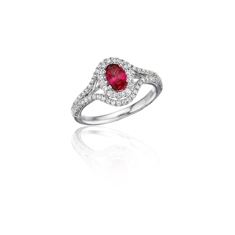 Fana Better With You Ruby and Diamond Halo Ring