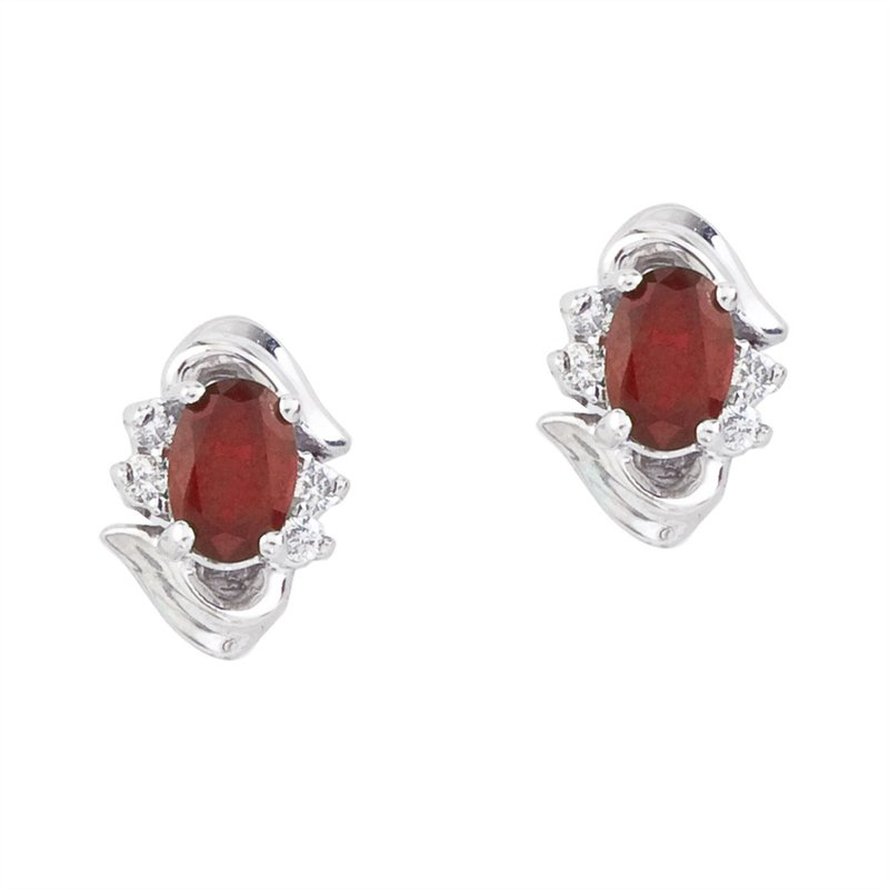 Color Merchants 14k White Gold Ruby And Diamond Earrings