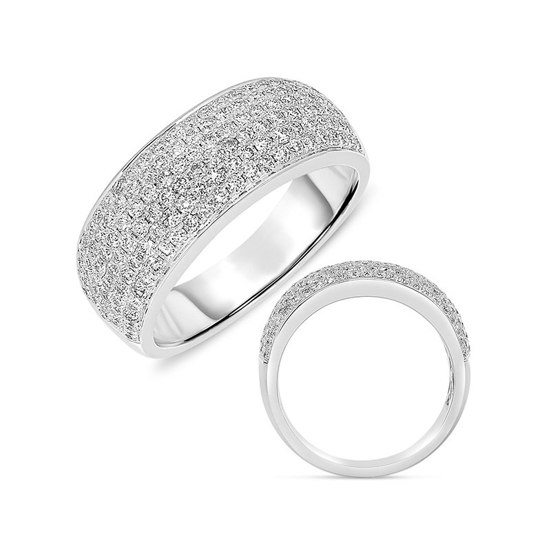 S. Kashi & Sons Bridal White Gold Pave Band 7.5mm wide