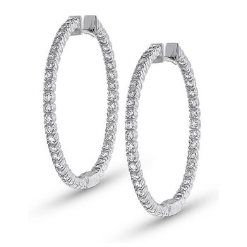 Diamond Inside Outside Hoop Earrings in 14k White Gold with 80 Diamonds weighing 1.60ct tw.