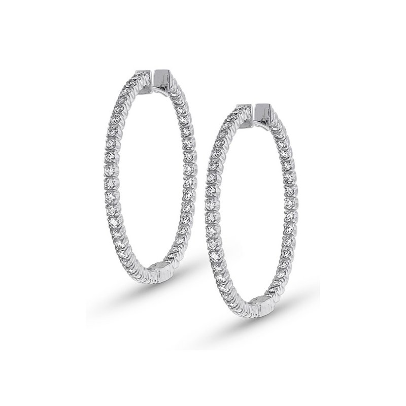 KC Designs Diamond Inside Outside Hoop Earrings in 14k White Gold with 80 Diamonds weighing 1.60ct tw.