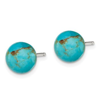 Sterling Silver 8-8.5mm Button Turquoise Post Earrings