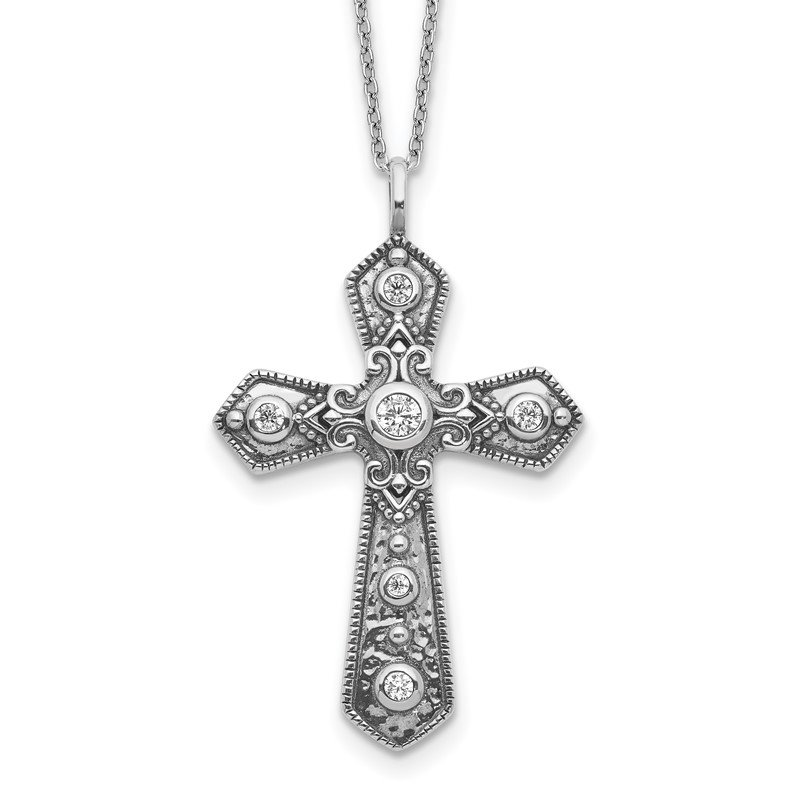 Quality Gold Sterling Silver CZ Fancy Cross w/2in ext. Necklace