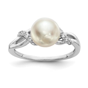 Sterling Silver Rhodium-plated 8-9mm White FWC Pearl CZ Ring