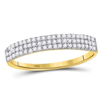 10kt Yellow Gold Womens Round Diamond Triple Row Fashion Band Ring 1/5 Cttw