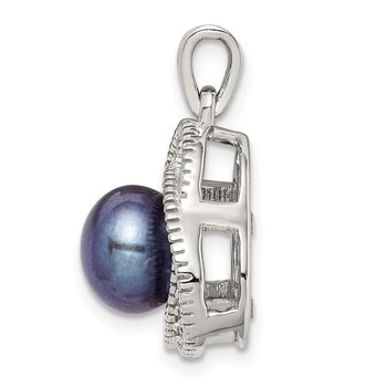 Sterling Silver Black Freshwater Cultured Pearl and White Topaz Pendant