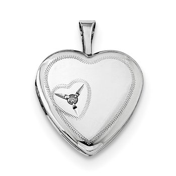 Sterling Silver Rhodium-plated 16mm Heart with Diamond Heart Locket
