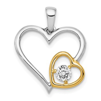 14k Two-Tone 1/5ct. Diamond Double Heart Pendant