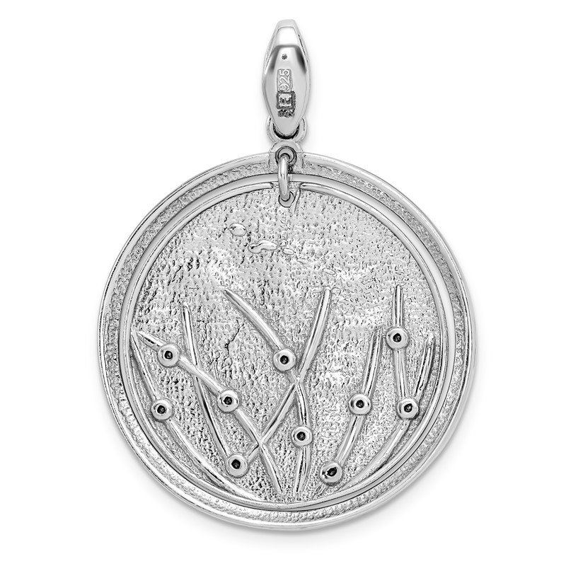 Leslie's Leslie's Sterling Silver Polished and Brushed Crystal Pendant