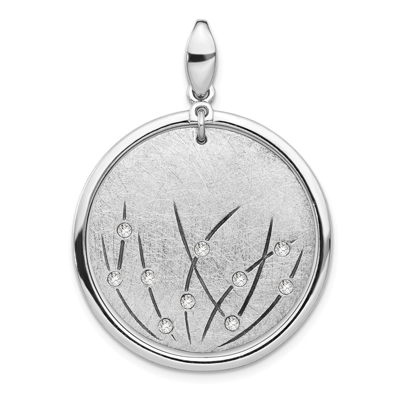 Leslies Sterling Silver Polished and Brushed Crystal Pendant