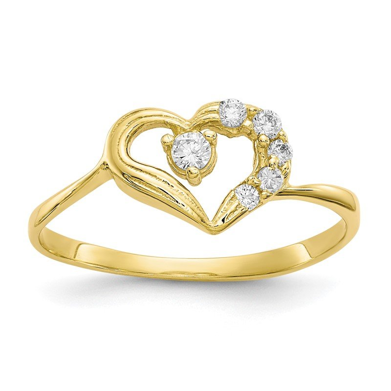 Quality Gold 10k CZ Heart Ring