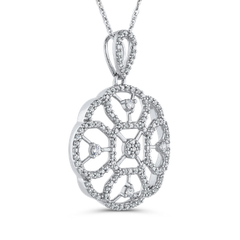 10K White Gold 3/8 ct White Diamond Flower Pendant with Chain