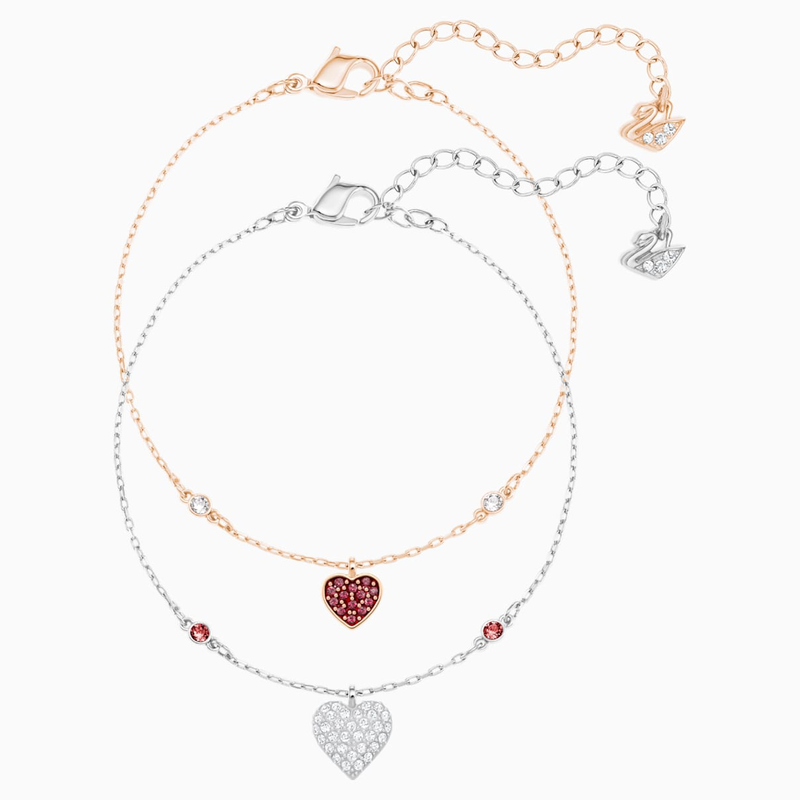 Swarovski Crystal Wishes Heart Set, Red, Mixed metal finish