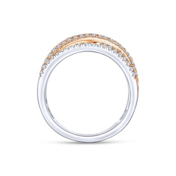 14K White-Rose Gold Diamond Ladies Ring