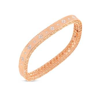 Satin Finish Slim Bangle With Fleur De Lis Diamonds &Ndash; 18K Rose Gold