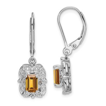 Sterling Silver Rhodium-plated Diamond & Whiskey Quartz Earrings