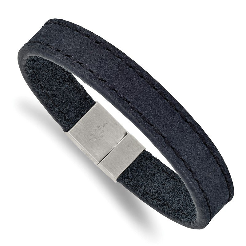 Chisel Stainless Steel Brushed Blue Leather 8.5in Bracelet