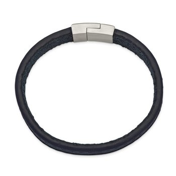 Stainless Steel Brushed Blue Leather 8.5in Bracelet