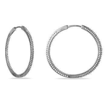 14K WG Diamond Hoops Inside Out Earring