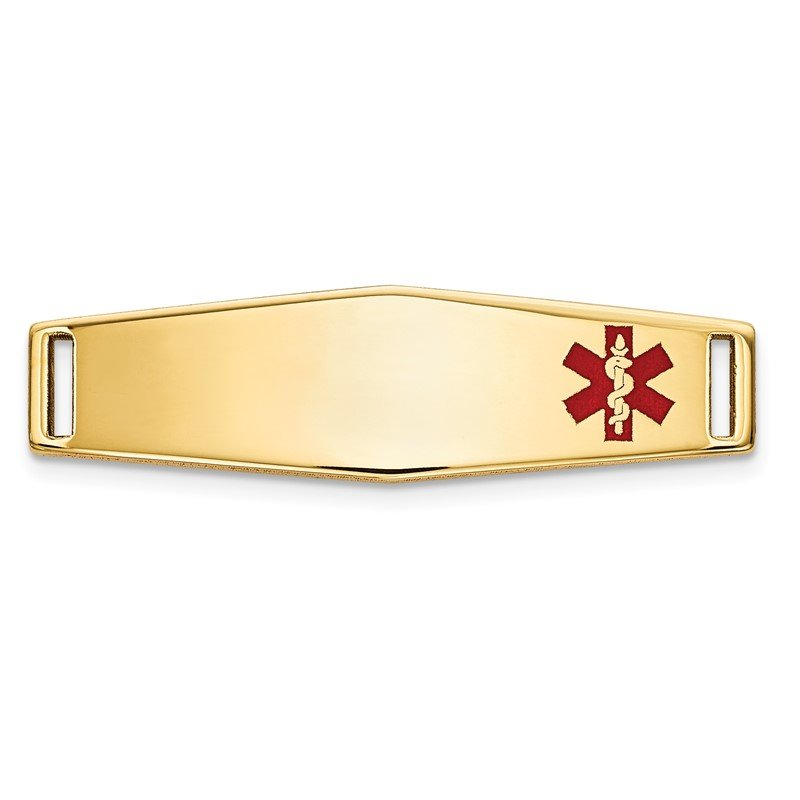Quality Gold 14K Epoxy Enameled Medical ID Off Ctr Soft Diamond Shape Plate # 816