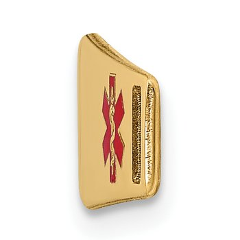 14K Epoxy Enameled Medical ID Off Ctr Soft Diamond Shape Plate # 816