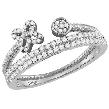 10kt White Gold Womens Round Diamond Flower Bisected Stackable Band Ring 1/5 Cttw
