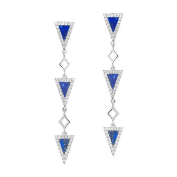 14K Drop Lapis and  Diamond Earrings 114 Diamonds  0.32CT  and 6 Lapis 0.66CT