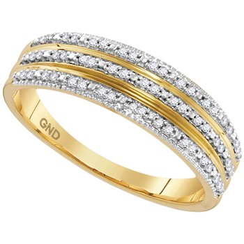 10kt Yellow Gold Womens Round Diamond Striped Band Ring 1/6 Cttw