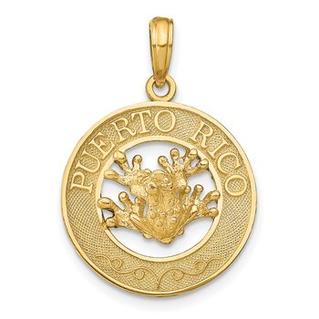 14k PUERTO RICO with Frog Pendant