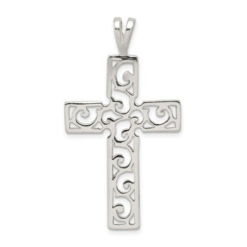 Sterling Silver Polished Swirl Cross Pendant