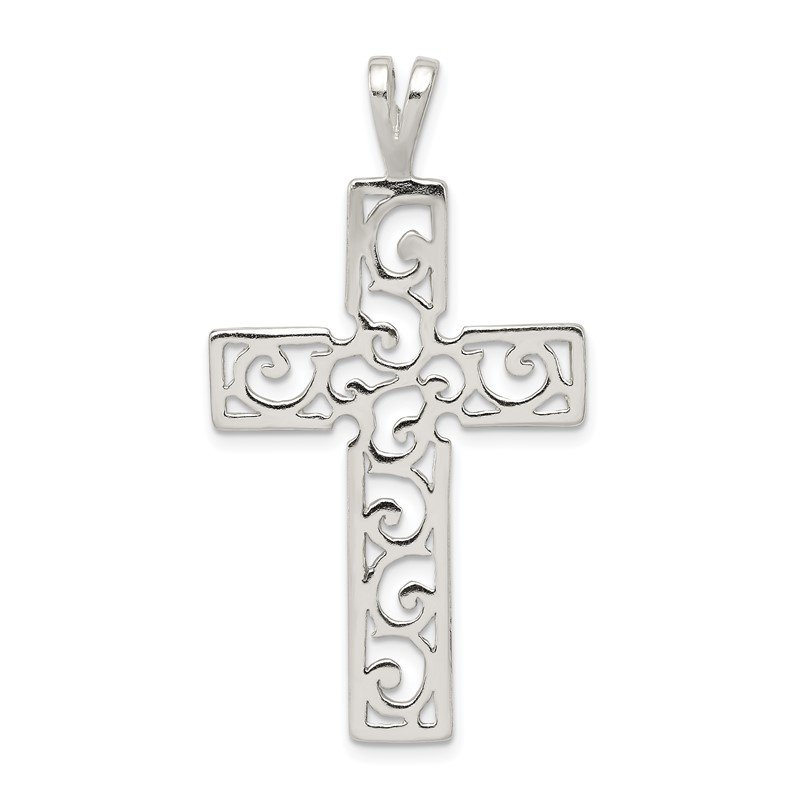 Quality Gold Sterling Silver Polished Swirl Cross Pendant