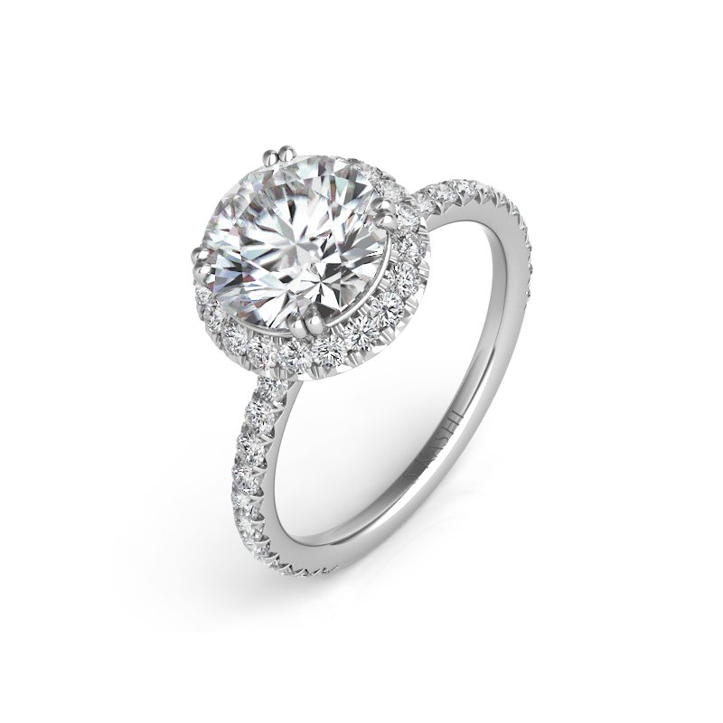 S. Kashi & Sons Bridal Platinum Halo Enagagment RIng