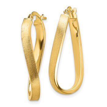 14k Satin & Polished Wavy 3mm Hoop Earrings