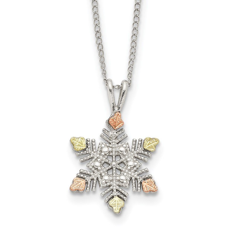 Quality Gold Sterling Silver & 12K Snowflake Necklace
