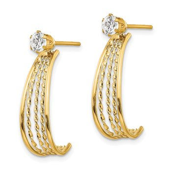 14K Yellow Gold J Hoop Polished w/CZ Stud Earrings