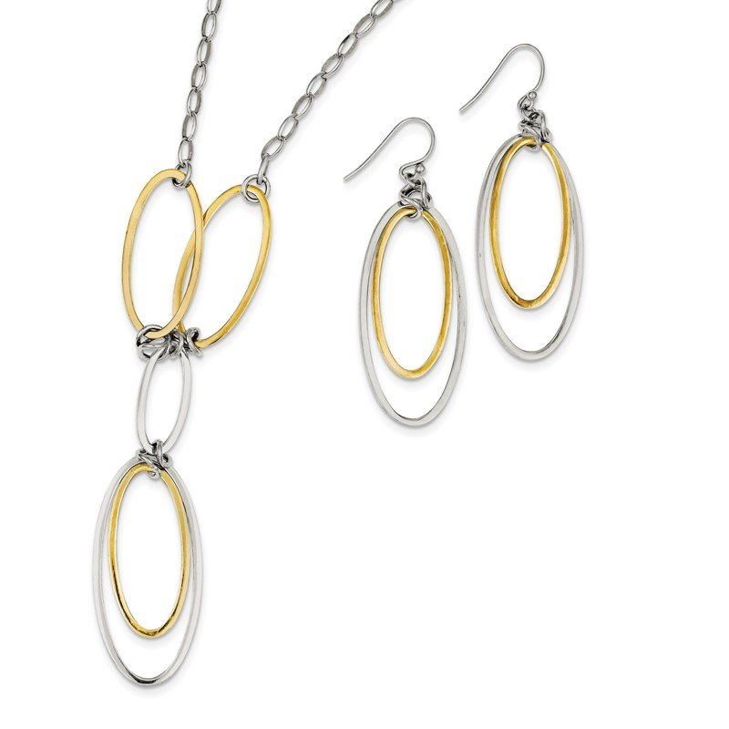 Quality Gold Sterling Silver and Vermeil Polished Drop Necklace and Earring Set