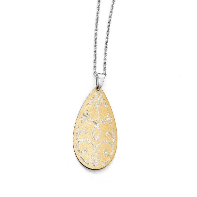 Leslie's Leslie's Sterling Silver and Gold-tone Fancy Teardrop Pendant