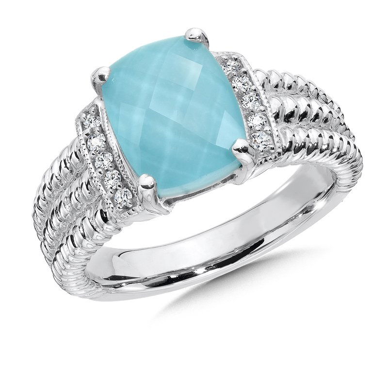 Colore Sg Sterling silver, diamond and turquoise fusion ring