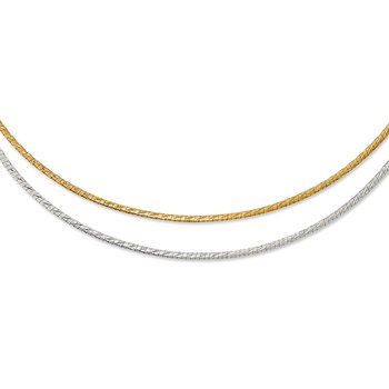 Leslie's 14K Two-tone D/C Reversible 2mm Adjustable Omega Necklace