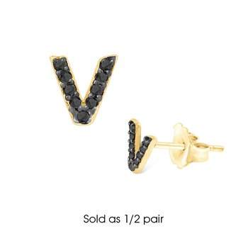 "Black Diamond Single Initial ""V"" Stud Earring (1/2 pair)"