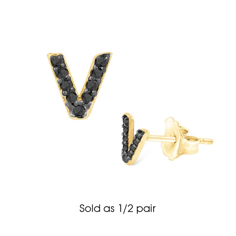 "MAZZARESE Fashion Black Diamond Single Initial ""V"" Stud Earring (1/2 pair)"