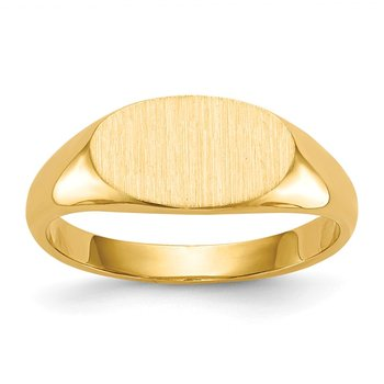 14k 6.5x11.5mm Closed Back Signet Ring