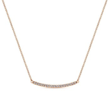 14k Rose Gold Curving Diamond Bar Necklace