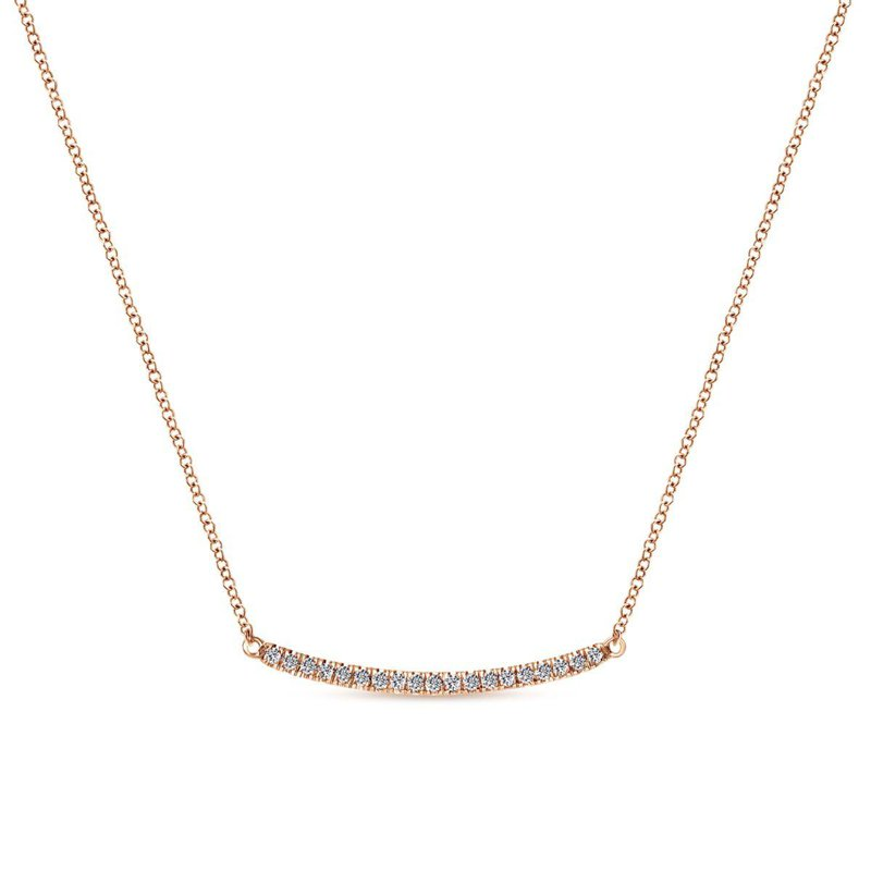 Amavida 14k Rose Gold Curving Diamond Bar Necklace