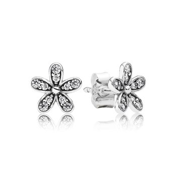 Dazzling Daisy Stud Earrings, Clear CZ